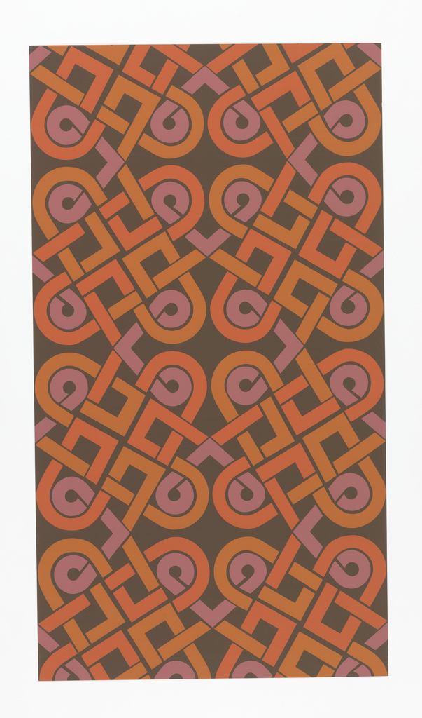 On brown ground, interlacing bandings of ochre, salmon, lavender in large scale loops.