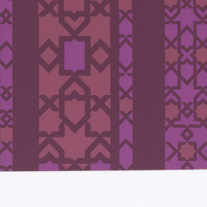 In two shades of lavender on dark plum-purple, vertical striping filled with geometric patterns in a horizontal, vertical and diagonal grid.