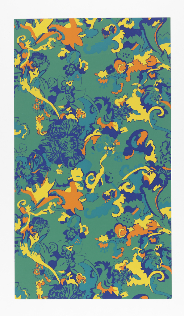 On bright green ground, tangle of flower and leaf shapes in bright yellow, orange, blue and turquoise.