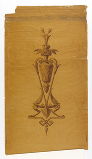 Stylized motif of urn with pendant pineapple motif, containing bouquet of flowers. Urn is suspended in a pedestal with paw feet. Printed in shades of tan and yellow over a glossy ground of tan combed to imitate wood graining.