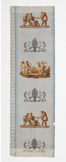 Landscape figures. Sidewall portion contains a repeating classical scene with Hercules. This alternates with a palmette or anthemia motif. Band of stylized floral motifs along each edge. The top border contains a floral garland. The bottom border contains a pair of hippocamps or half figures of a horse, facing apart, seperated by an anthemion. Printed in shades of brown, gray, blue and pink on gray ground. This group of eight pieces contains two large sidewall pieces, four pieces of top borders friezes and two pieces of bottom borders.