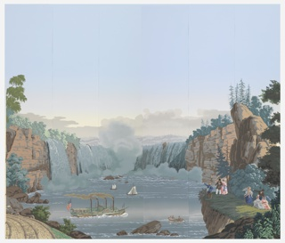 "Nine panels depicting Niagara Falls and Natural Bridge in Virginia from the scenic set ""Scenic America"". The panels are numbered 24 - 32."