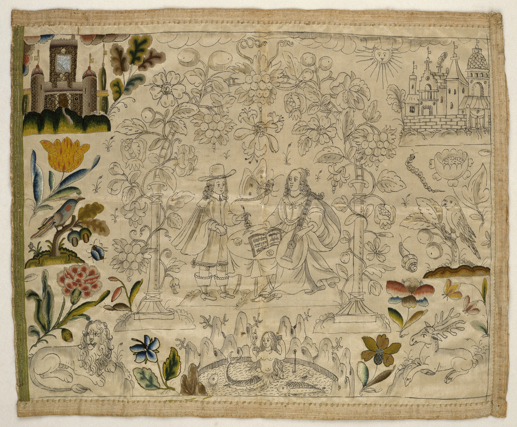 An unfinished embroidered picture, worked only on left side and lower edge. The remainder of the picture was drawn on the silk. The central area shows a man with a woman holding a stringed instrument, under an arch covered in flowers and fruit.