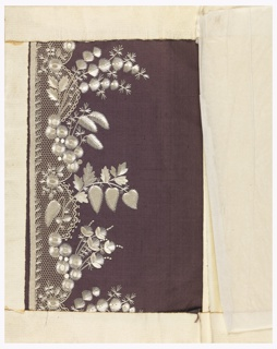 White silk embroidery in a design of small-scale foliage and flowers with a border of appliqued net on a brown ground.
