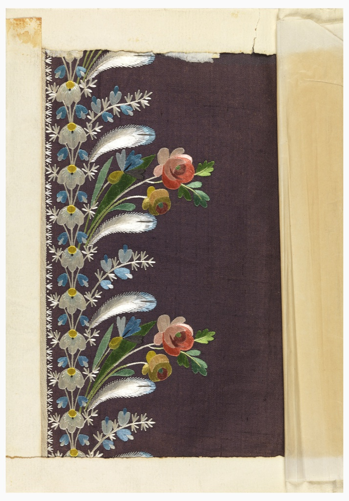 Multicolored silk embroidery in a floral design of small-scale naturalistic flowers and foliage with net applique on a green and brown ribbed ground.