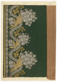 Floral design embroidered with silver and gold thread, sequins and wire, and bits of glass on a patterned green ground.