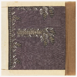 Formal foliate pattern, embroidered with white silk, silver wire and sequins and glass on a ground of purple taffeta.