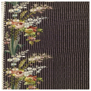 Embroidered sample for men's silk waistcoats, with design of loose sprigs of wildflowers on a vertically ribbed dark brown ground.