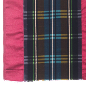 Broad vertical bands of velvet stripes in purple, blue, black, green, yellow and white with narrower satin bands in dark pink.