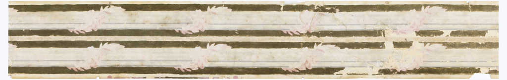 Dark brown field. Narrow white stripe in center, bordered top and bottom by wide bars wrapped by pink garlands.