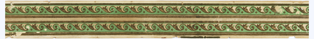 Green bands of advancing wave motif on cream field, printed in colors.