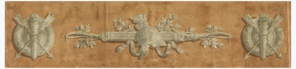Horizontal design. Three military trophies in grisaille on a light brown field.