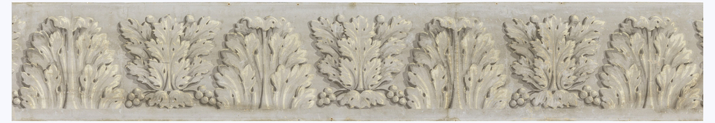Alternating simple and compound acanthus leaves, gray and white on gray field.