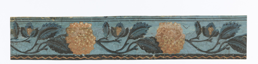 Horizontal rectangle. Border paper with two and one-half repeats of foliageserpentine with recurring hydrangea blossom. Two black lines along one edge and black band with pink chevron along other edge.