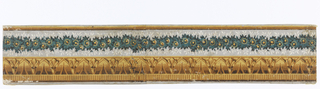 Horizontal rectangle. Border paper, with simulated leaf molding above wavy band of foliage and flowers. Yellow figured band along lower edge of paper.