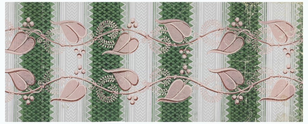 One and one-half widths of striped paper with alternating bands; checkered band of lighter and darker green lozenges flanked with green lines, and grey stripe printed with white chevrons between white lines. Overprinted double row of vine with leaves, blossoms and berries, placed horizontally.