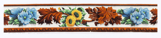 Same design as 1952-52-19 but leaf cluster, and dentil molding at bottom, are in orange flock. Also one of the flower clusters is yellow and green instead of white and green. Clusters of leaves and clusters of flowers connected by stems as above. Printed on white glazed ground.