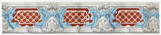 Grisaille and blue scrollwork motif alternating with medallion enclosing diaper of red flock rosettes on white glazed ground in diagonal pattern. At least one edge has probably been clipped. Printed and flocked on white glazed ground.