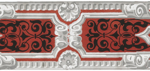Grisaille scrollwork leaving open areas of red. The latter are embellished with black scroll and leaf forms. Grisaille dentil moldings along the upper and lower edges. (Other lengths have probably been clipped from this). Printed on red ground.