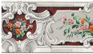 Grisaille scrollwork frames enclosing, alternately, a cluster of flowers and leaves on gray ground, and a smaller cluster on a red ground which is striped with black. Grisaille moldings along upper and lower edges. (Probably clipped along both edges).