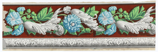 Horizontal rectangle. Large blue flowers, with green leaves, intertwined with grisaille acanthus rinceau, on red flock  ground. Foliate and floral band, in grisaille, along bottom.
