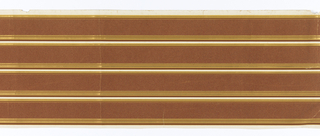 Four equal dark tan flocked strips are separated by narrow white, dark brown and gilt lines.