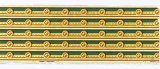 Green flock surmounted by dentil molding and quatrefoils in buff and gilt.