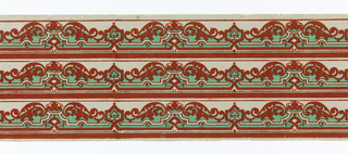 Three scalloped bands of scroll-like strap work in Chinese red flocking on pastel green ground.