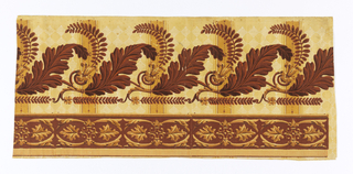 Large acanthus leaves alternate with acacia leaves, both in brown flock. Divided by ochre uprights (pilaster strip) with panels having white parallel lines forming diamonds. Top border consists of brown paired acanthus leaves on brown flock.