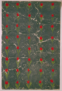 Field marble in gray, green, and white; continuous pattern of vertical rows of tulips and leaves in red and green.