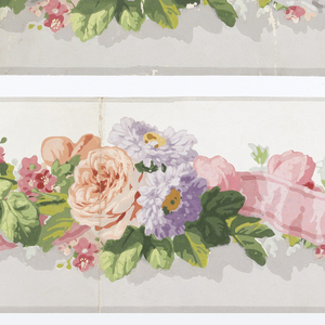 a) Between gray edge lines, shaded gray/white ground divided by entwined blue ribbon, rope of pastel roses, various lavender and cream-colored flowers; b) Same, except white ribbon; c) Same, except pink ribbon.