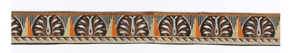 This piece is most likely one band of a border design probably originally printed in five repeat bands for the width of the wallcovering. Each band consists of three strips of varied patterns: a continuous chevron band above the wider center band containing stylized palmettes, triangles, and narrow vertical stripes, edged at the bottom by a wave-and-dart pattern; printed in yellow, orange and white on black.