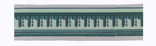 Rounded architectural arches alternating with three vertically stacked bellflowers, this placed between top and bottom numerous stripes. Printed in three shades of green on gray ground.