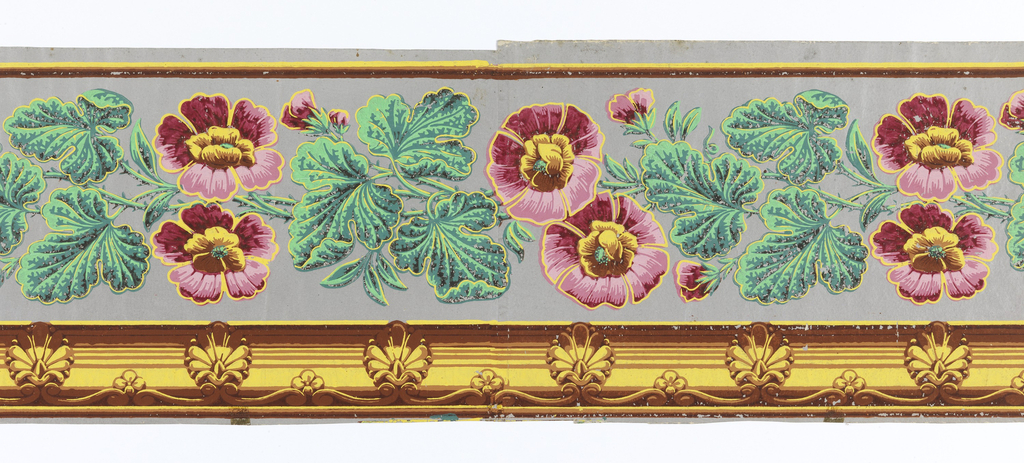 Between striped edgings, the wide central band contains flowers enframed by cartouches which are separated by garlands of flowers. Each cartouche has eight points alternating between palmettes and rosettes/acanthus leaves. The background is flocked. Printed in yellow, gold, green, blue, red and pink on a purple flocked background.  H# 433
