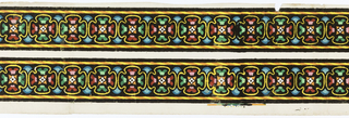 Two widths of a multi-colored quatrefoil design. The background is flocked,and the edgings consist of a simplified cable or striped line. Black flocking, yellow, orange, red, pink, green and blue over a white base; printed in imitation of a textile.  H# 498