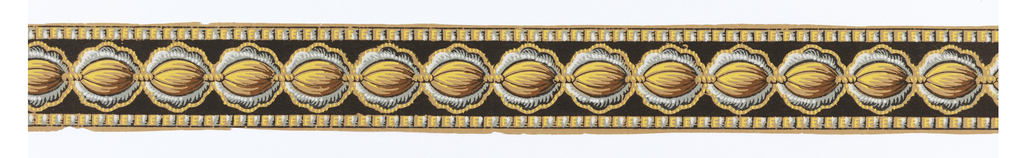 a) Narrow border with strung beads, printed on black background. Narrow dentil or rope twist band along either edge.