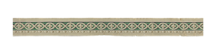 Top wide band with guilloche pattern enclosing a quatrefoil and overlapping cable or rope twist on either side.  Narrower underband with a rod of wrapped ribbon and quatrefoils.  Printed in green, white, black, and grey on grey background.