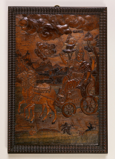 """Panel in gadrooned frame.  Female figure, swinging censer, seated in chariot drawn by two camels; in background, a battle scene against the backdrop of a hill town. At top right, labeled """"Asia""""."""