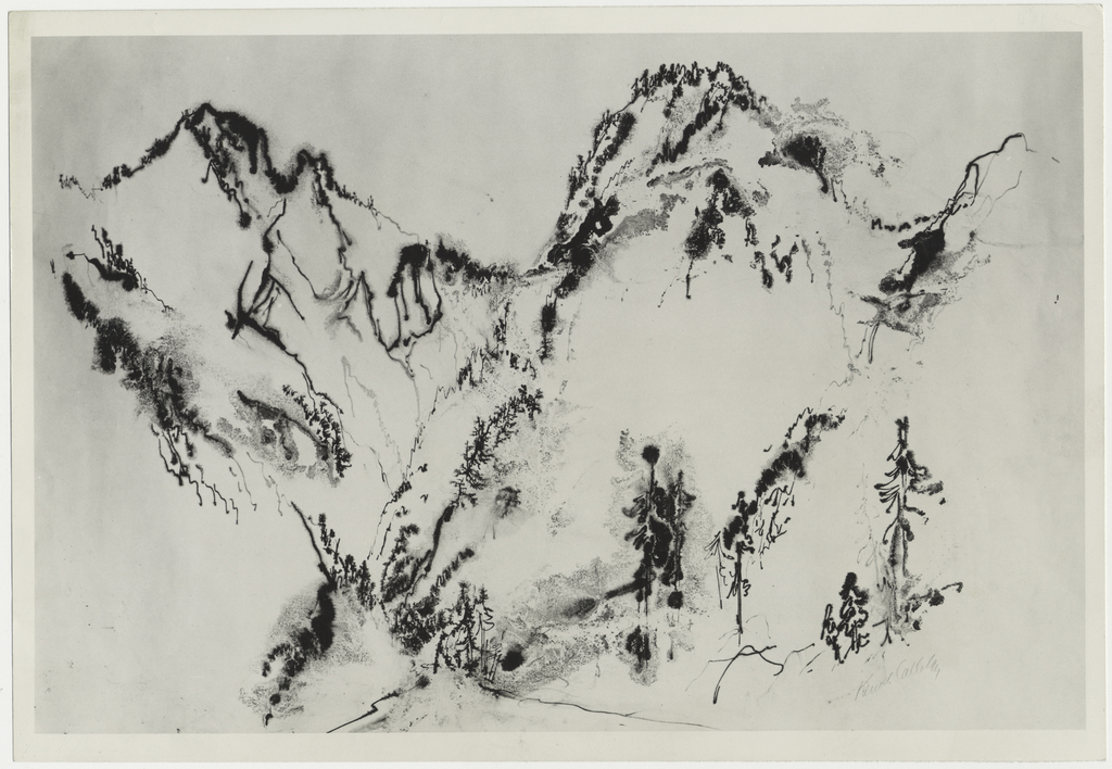 A scene composed of mountain peaks, rendered chiefly in a pattern of line.