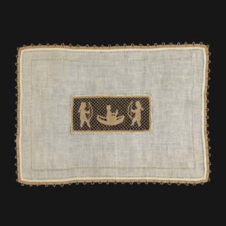 Linen cover with hemstitching, bobbin lace edging and central panel of bobbin lace showing two Indian motifs (two braves with bows and one paddling a canoe).