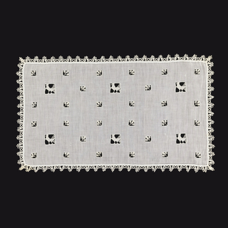 Rectangular panel of linen ornamented with small squares containing leaves worked in needle lace and larger squared containing birds worked in needle lace, edged with narrow bobbin lace.