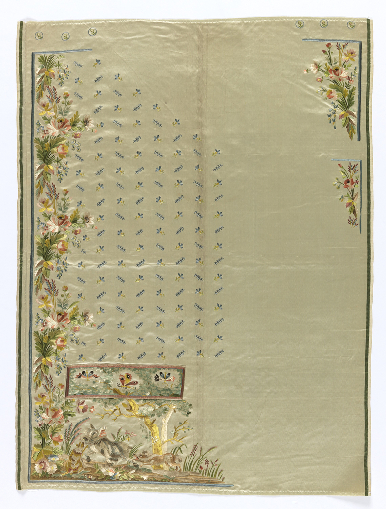 Two fronts of a gentleman's waistcoat, with no collar, cut-away hem edge, and shaped pocket flaps, embroidered in twenty-four colors of silk, on an ivory silk ground. Overall tiny floral sprig, floral border at center front edges, floral sprigs and swagged garlands at lower edge.
