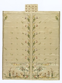 Panel of ivory silk satin embroidered with the left and right fronts of a gentleman's waistcoat, with stand collar, pocket welts, and button covers. The embroidery consists of an overall scattered floral with floral borders up the center front; on the pockets and at hem edge are scenes of monkeys drinking rum and playing musical instruments. In sixteen colors of floss silk.