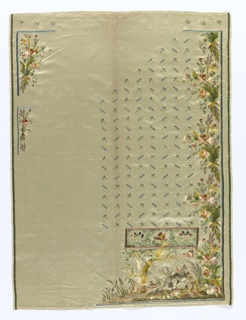 Two incomplete panels for waistcoat, white satin embroidered waistcoat in polychrome silks; pattern of boar hunt, foliage, floral borders.