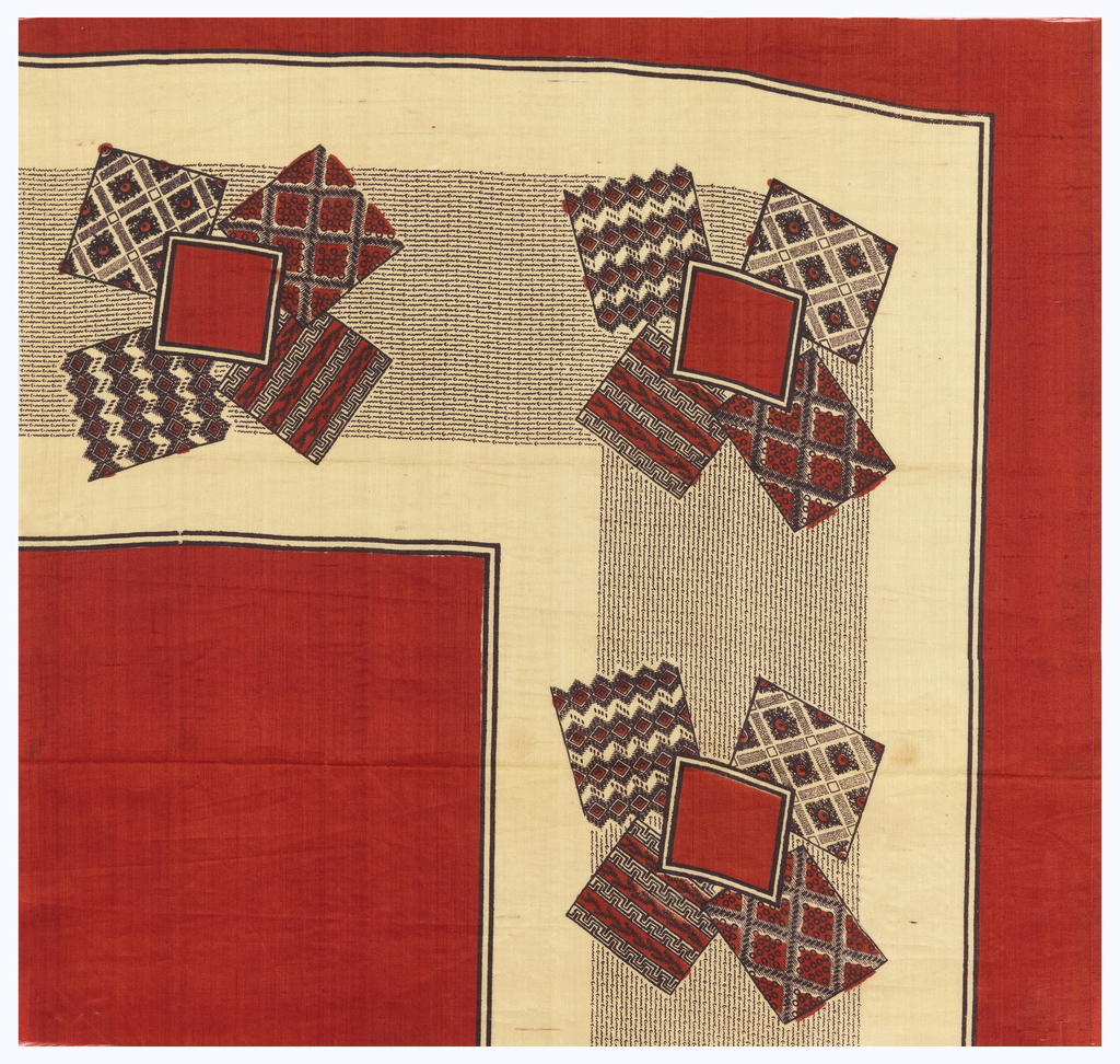 Quarter of a printed scarf with plain red field, red and black border with design of fabric swatches