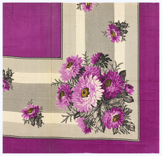 Quarter of a printed scarf in three shades of magenta, yellow, and black. Border contains asters on stripped ground and field is plain magenta.