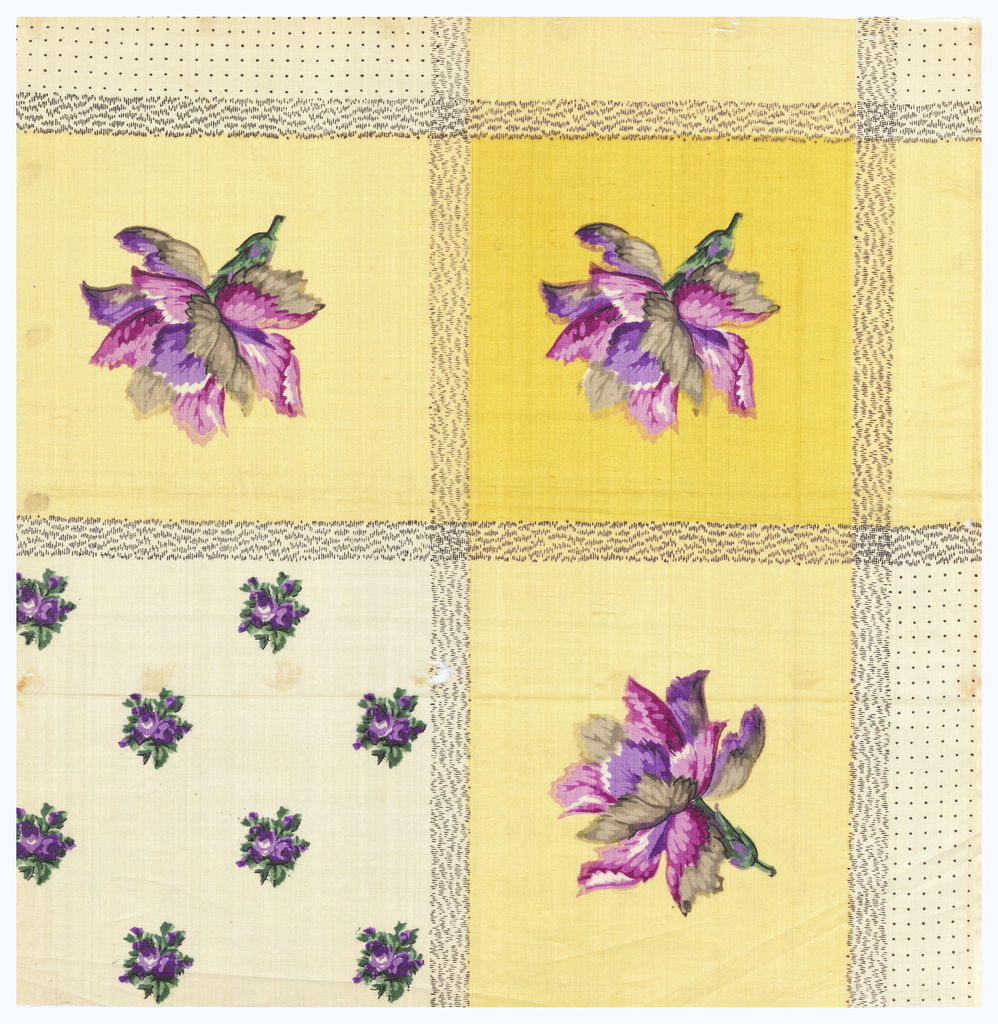 Quarter of a printed scarf in three magentas, three purples, three greys, two greens, two yellows, and black. Field of small-scale pattern of roses and border shows carnation in a square.