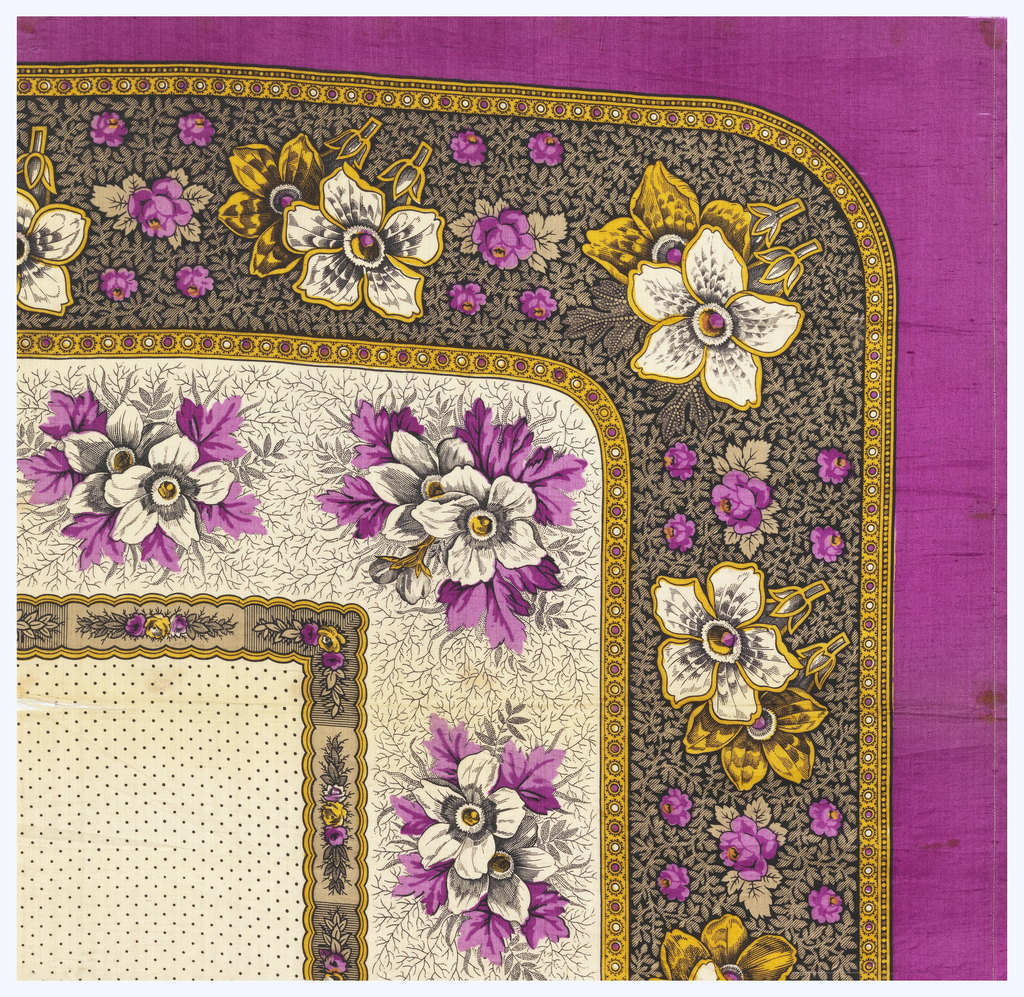 Quarter of a printed scarf in two purples, yellow, tan, and black. Field of fine black dots and floral border with rounded corner.