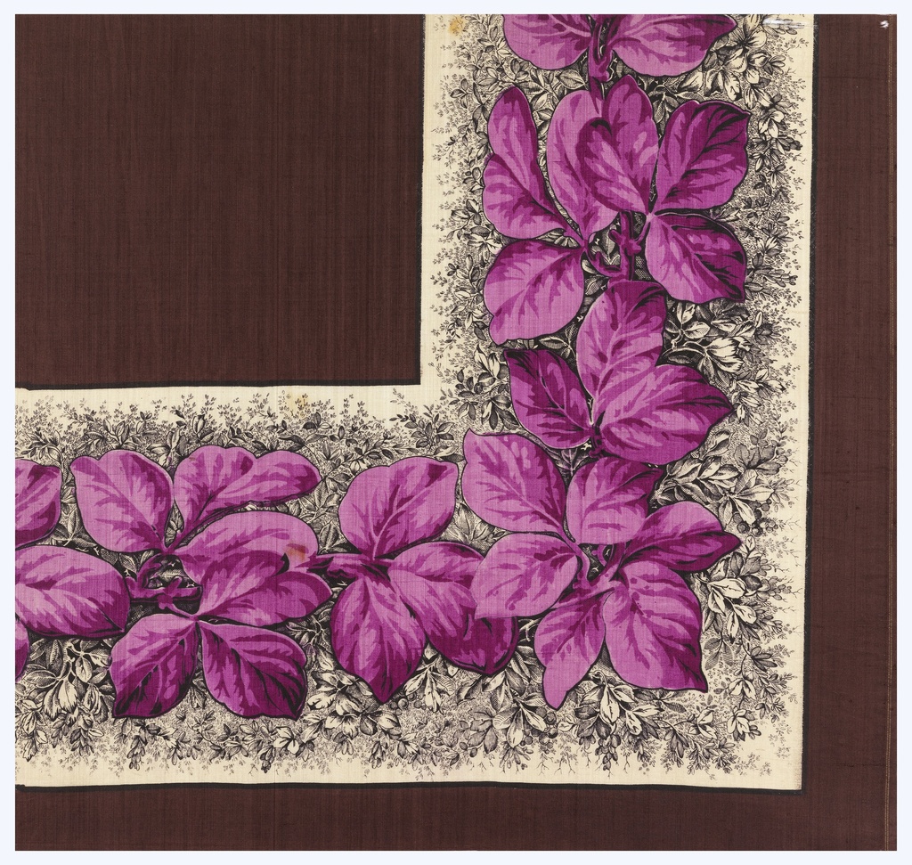 Quarter of a printed scarf in two purples, two yellows, tan, brown, and black. Plain dark brown field and leafy vine border.