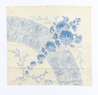 Quarter of a printed scarf in blue on white ground. Rounded border with a pendant of chysanthemums crossing it, forming a corner.